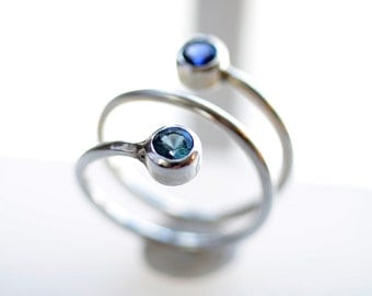 Dual Stone Ring - Dual BirthStone Ring - Two Stone Ring - Couples Ring - Gemstone Ring - Mom Ring - Stacking Silver Ring - His Her Ring 4091