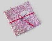 Valentine's Day Bridal Shower Hearts Red White Fabric Napkins,  Eco Friendly 100% Cotton Napkins, Appetizer Napkins - set of 8