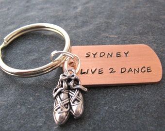 Personalized Dance Keychain, Live 2 Dance, Dancer keychain, ballet keychain, ballet slippers charm, ballerina gift, recital gift