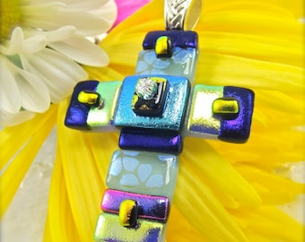 Dichroic pendant, Christian cross necklace, fused glass necklace, handmade jewelry, glass fusion, Hana Sakura, Rainbow jewelry, crucifix