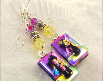 Trending dichroic jewelry, fused glass earrings, dichroic glass earrings, Hana Sakura Designs, fused glass, glass fusion, artistic earrings