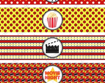 Printable Movie Night Water Bottle Wrappers - Instant Download