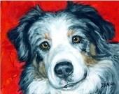 Australian Shepherd SALE Dog Art 8x10 Print of Original Painting by Dottie Dracos