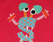 Personalized Monster Using Child's First Initial on Fuchsia Shirt,Monster Birthday Shirt,Kids Monster Shirt,Monster Birthday Gift, Baby Gift