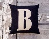 Mini letter cushion/pillow in charcoal black basketweave cotton and applique' wool felt.
