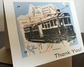 San Francisco Map and Trolley - Screen-Printed Thank You Card