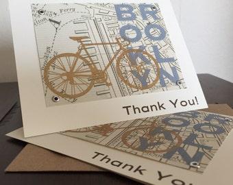 Brooklyn Map and Bike - 50-Pack Screen-Printed Thank You Cards