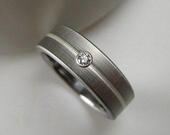 Silver Stripe Titanium Diamond Wedding Ring Mens Band
