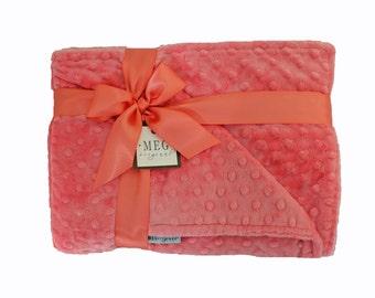 Coral Minky Dot Baby Girl Crib Blanket, 665