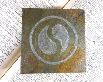 SPIRIT SAGE MEDALLION - 4x4 Art Tile - Hand Carved Slate Art Coaster, Etched Stone Art Display Tile - Video Game Party Decor Coaster