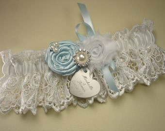 Personalized White Wedding Garter in Lace with Something Blue Roses, Pearls, Rhinestones and Engraving