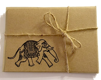 FREE Shipping Handmade Note Cards with Embossed Indian Elephant - Black