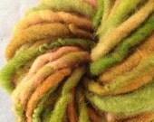 Peas N Carrots corriedale wool yarn single ply bulky yarn 46 yards pea green orange butternut chartreuse chunky funky artyarn