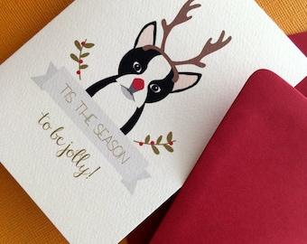Antlers , Boston Terrier Christmas greeting set of 12