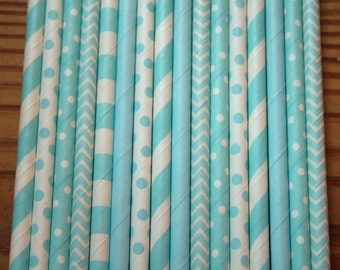 30 Baby Blue Party Straws, Paper Straws, Assorted Patterns