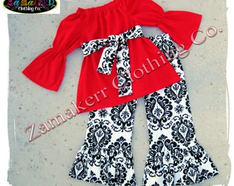 Girls Heart Valentines Day Damask Red Outfit Set Custom Boutique Clothing Pant Toddler Baby Infant 6 9 12 18 24 Month Size 2t 3t 4t 5t 6 7 8