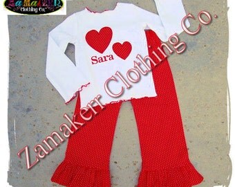 Custom Boutique Clothing Girl Valentines Day Heart Red Pant Outfit Set T Shirt Baby Knit Tee 3 6 9 12 18 24 Month Size 2t 3t 4t 5t 6 7 8