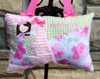 Girls Tooth Fairy Pillow in Shabby Chic Florals w/Custom Fairy & Personalized w/Name - inlcudes tooth chart and poem to the tooth fairy.