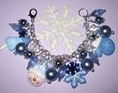 Winter Charm Bracelet Winter Jewelry Christmas Charm Bracelet Snow Jewelry Snowflake Snow Bracelet Tree Snowman Mitten OOAK Statement Piece