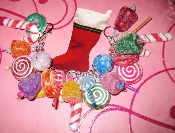 Christmas Candy Bracelet Candy Jewelry Christmas Candy Charm Bracelet Gumdrops Lollipops Christmas Jewelry Chunky Fun  Statement Piece OOAK