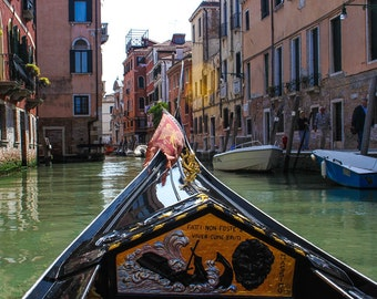 Travel photography View from a gondola  //   wall art  / water streets  /  Venice