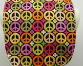 Youth/Junior Girl's Bib - Special Needs, Cerebral Palsy, Retts Syndrome, 14-inch neck opening - Colorful Peace Signs and Flowers on Brown