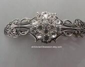Wedding Bridal hair barrette Vintage Victorian style Rhinestone, crystal silver bridal accessory
