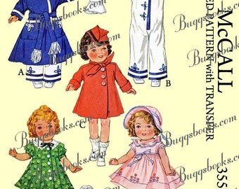 McCall 355 - PDF doll sewing pattern - 1935 - 16 inch shirley temple doll