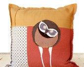 Owl Decorative Art Pillow - Canadian Burrowing Owl Gold Coral Brown Fiber Art Pillow Case