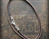 Leather Cord Necklace with Sterling Swivel Clasp - Sterling and Leather cord necklace - distressed Sepia Grey Brown - any length