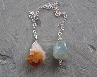 Citrine Crystal, Aquamarine, and Sterling Silver Pendulum