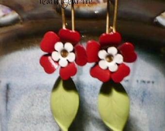 enamel flower leaf dangle earrings red white spring flower jewelry