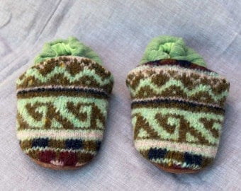 Green Fair Isle Knit Wool Kids Slippers Leather Bottom fits 2-3 years old made from recycled materials