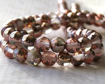Apollo Gold Czech Glass Bead 6mm Round : 50 pc Smooth Druk Apollo Gold Beads