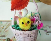 Vintage Inspired / Easter Basket Decoration / Ornament  / Made from Vintage Craft Supplies / Vintage Chenille Chick