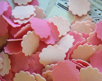 Vintage / Scalloped Miniature Circles / Made From Flocked Paper / Crepe Paper Backside / Light Pink
