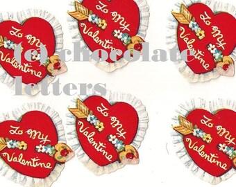 Charming Vintage Graphics / Gummed To My Valentine Seals / One Dozen