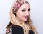 Pink & Brown Basic Floral Cotton Head Scarf, Tie Headband