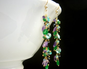 Amethyst, Green Onyx,  Apatite, Emerald and Black Spinel Sapphire Earrings
