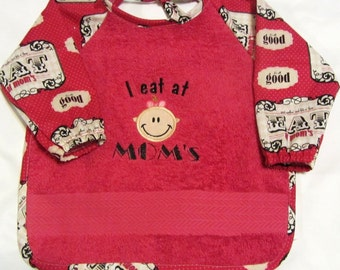 I Eat at Moms Sleeved Bib - 6 months to 2T