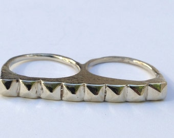 Two Finger Ring, studs studded gold silver