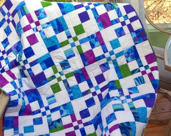 Quilted Jewel Colored Crib Quilt, Baby Quilt, Quilted Throw, Baby Blanket