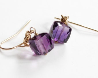 Amethyst Cubes/14K Gold Fill Chain and Ear Wires/Healing Gemstone.