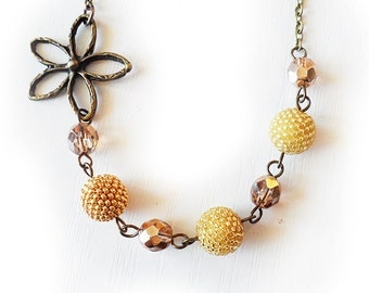 Gold Glass Beads Necklace - Flower and Beads Necklace - Beadwork Necklace