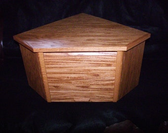 Oak Corner Bread Box with Golden Oak Finish and Roll Up Door