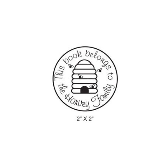 Personalized Bee Hive Ex Libris Bookplate Rubber Stamp C08