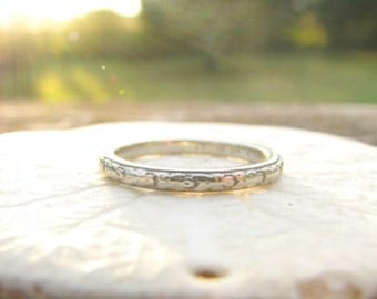 Art Deco Wedding Band, Traub Orange Blossom Eternity Ring, 18K White Gold, Hand Engraved 1924