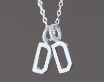 Double Block Letter Initial Necklace in Sterling Silver