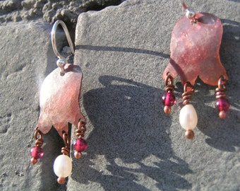 Petite Fleur copper earrings with white freshwater pearl and round red garnet beads. Sterling silver ear wires.