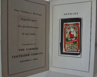 Vintage Sewing Needle Pack - Cool Advertising from Farmers Fertilizer Co. - Red, White and Black - Graphics - ready to ship